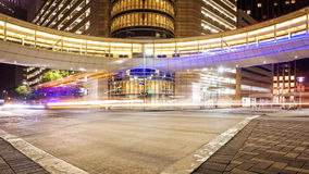 Downtown Houston, Texas Intersection & Traffic at Night Stock Photo
