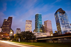 Downtown Houston at traffic time stock photo