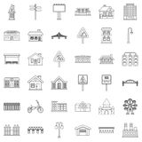 Downtown icons set, outline style Royalty Free Stock Image