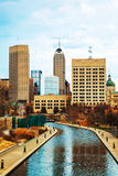 Downtown of Indianapolis. In the evening time stock photography