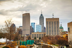 Downtown of Indianapolis. In the morning stock images