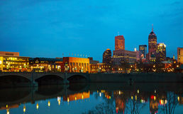 Downtown of Indianapolis. At the night time royalty free stock images