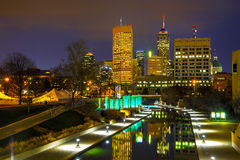 Downtown of Indianapolis. At the night time stock images
