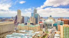 Downtown Indianapolis skyline with blue sky. In USA stock photos