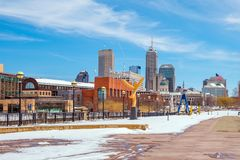 Downtown Indianapolis skyline with blue sky. In USA stock photography