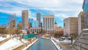 Downtown Indianapolis skyline with blue sky. In USA royalty free stock images