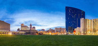 Downtown Indianapolis skyline. Panorama view of downtown Indianapolis skyline at twilight stock image