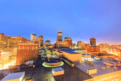 Downtown Indianapolis skyline. Top view of downtown Indianapolis skyline at twilight royalty free stock photos