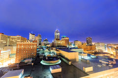 Downtown Indianapolis skyline. Top view of downtown Indianapolis skyline at twilight stock images
