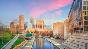 Downtown Indianapolis skyline. At twilight royalty free stock photos