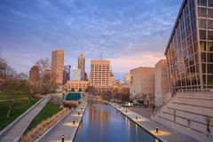 Downtown Indianapolis skyline. At twilight royalty free stock images