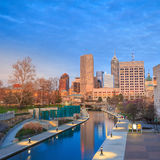 Downtown Indianapolis skyline. At twilight royalty free stock image