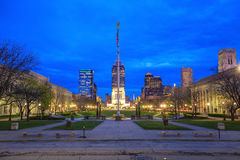 Downtown Indianapolis skyline. At twilight stock photography