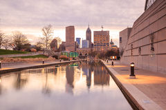 Downtown Indianapolis skyline. At twilight royalty free stock photography