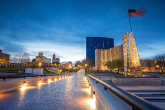Downtown Indianapolis skyline. At twilight stock image