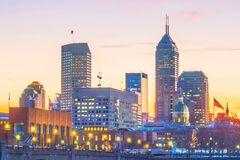 Downtown Indianapolis skyline at twilight. In USA royalty free stock photos