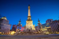 Downtown Indianapolis skyline at twilight. In USA stock photo