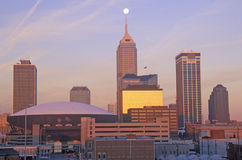 Downtown Indianapolis at Sunrise, Indianapolis, Indiana Royalty Free Stock Photography