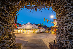 Downtown Jackson Hole in Wyoming USA. JACKSON HOLE, WYOMING - SEPTEMBER 28: Downtown Jackson Hole in Wyoming USA on September 28, 2015 It was named after David Stock Image