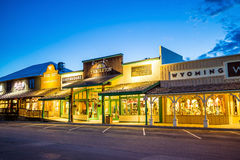 Downtown Jackson Hole in Wyoming USA. JACKSON HOLE, WYOMING - SEPTEMBER 28: Downtown Jackson Hole in Wyoming USA on September 28, 2015 It was named after David Stock Photo
