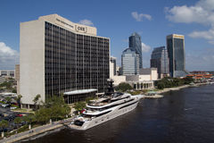 Downtown Jacksonville, Florida. JACKSONVILLE, FLORIDA - OCTOBER 26, 2016: View of downtown Jacksonville with the superyacht Kismet in foreground. Kismet is owned stock photo