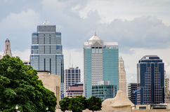 Downtown Kansas City Missouri. Tall buildings in the downtown Kansas City area in front of Liberty Memorial royalty free stock images