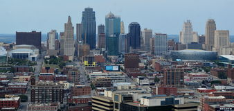 Downtown Kansas City Skyline Panorama Royalty Free Stock Photography