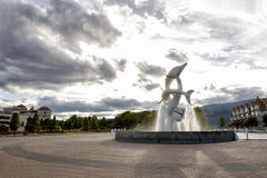 Downtown Kelowna. By  the Okanagan lake at the dolphins fountain Stock Photography
