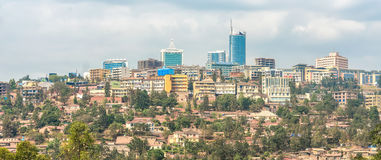 Downtown Kigali. Bird's eye view of the buildings of downtown Kigali Stock Photo