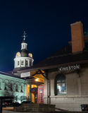 Downtown Kingston, Ontario, Canada. The old train station and city hall in Kingston, Ontario, Canada on a beautiful twilight night royalty free stock photo