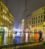 Downtown Krakow at night Royalty Free Stock Photography