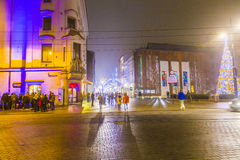 Downtown Krakow at night Stock Photos
