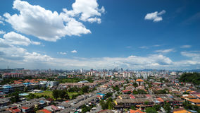 Downtown Kuala Lumpur. View of Kuala Lumpur skyline in clear blue sky from district Ampang in Malaysia Royalty Free Stock Photos