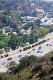 Downtown LA. Aerial view of traffic within los angeles Stock Images