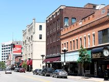 Downtown La Crosse Wisconsin. View of downtown La Crosse Wisconsin and it's many business Royalty Free Stock Photo