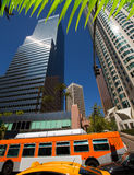 Downtown LA Los Angeles skyline California with traffic Stock Photos