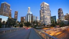 Downtown LA night Los Angeles sunset skyline