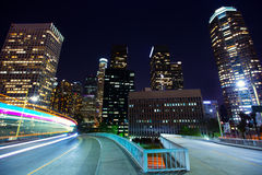 Downtown LA night Los Angeles sunset skyline California. From 110 freeway Stock Photos