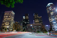 Downtown LA night Los Angeles sunset skyline California. From 110 freeway stock photos