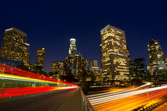 Downtown LA night Los Angeles sunset skyline California. From 110 freeway Royalty Free Stock Photography