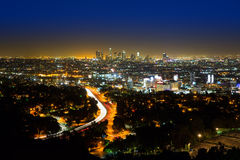 Downtown LA night Los Angeles sunset skyline California. From high view Stock Photos