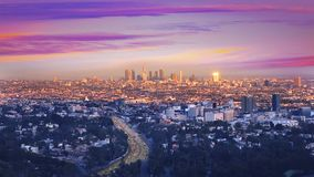 Downtown LA night Los Angeles sunset skyline California stock video footage