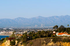 Downtown LA. A view of the Los Angeles skyline from Palos Verdes Stock Image