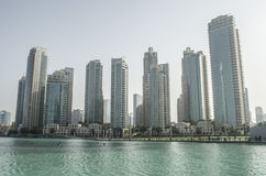 Downtown Lak View. Location is close to the Dubai Mall and the Dubai Fountain. this building include hotel shopping mall ext Royalty Free Stock Photo
