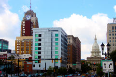 Downtown Lansing. Featuring Boji Tower and the Capitol Dome royalty free stock photo