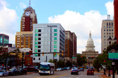 Downtown Lansing. Including Boji Tower and the State Capitol, with traffic stock image