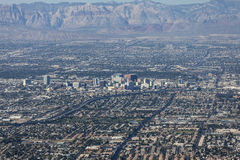 Downtown Las Vegas Editorial Aerial. Editorial view of downtown Las Vegas and Red Rock Canyon national Convservation Area stock photography