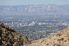 Downtown Las Vegas with Mountains Royalty Free Stock Photo