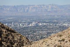 Downtown Las Vegas with Mountains. Editorial view of downtown Las Vegas and the Spring Mountains Royalty Free Stock Photo