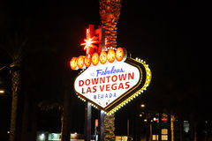 The downtown Las Vegas sign at night Royalty Free Stock Photos